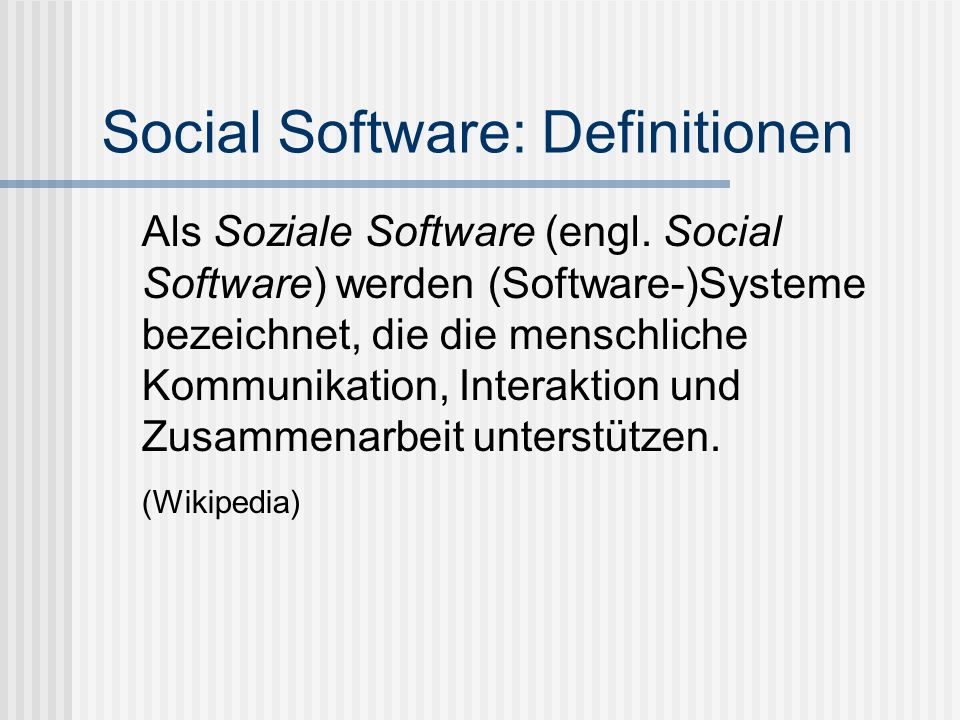 Social Software: Definitionen