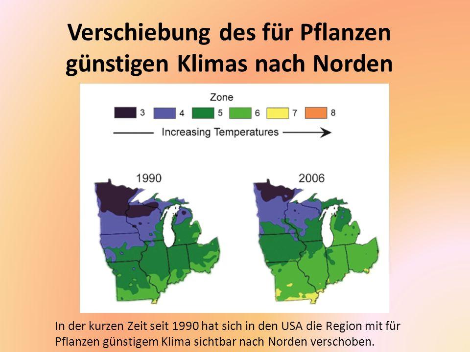 Verschiebung des für Pflanzen günstigen Klimas nach Norden