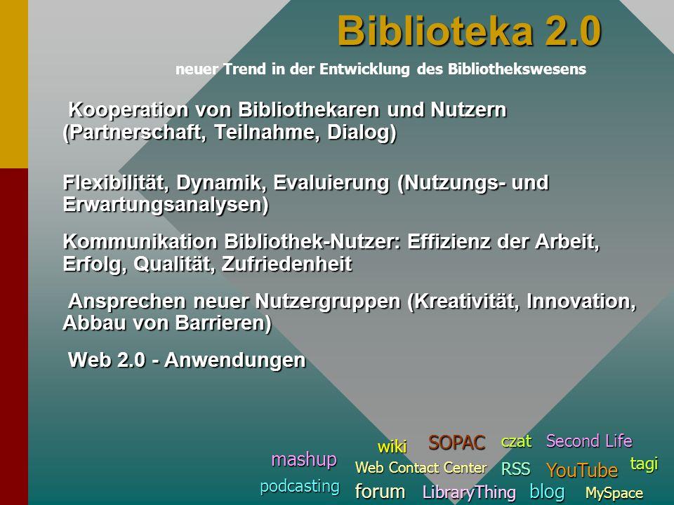 Biblioteka 2.0neuer Trend in der Entwicklung des Bibliothekswesens. Kooperation von Bibliothekaren und Nutzern (Partnerschaft, Teilnahme, Dialog)