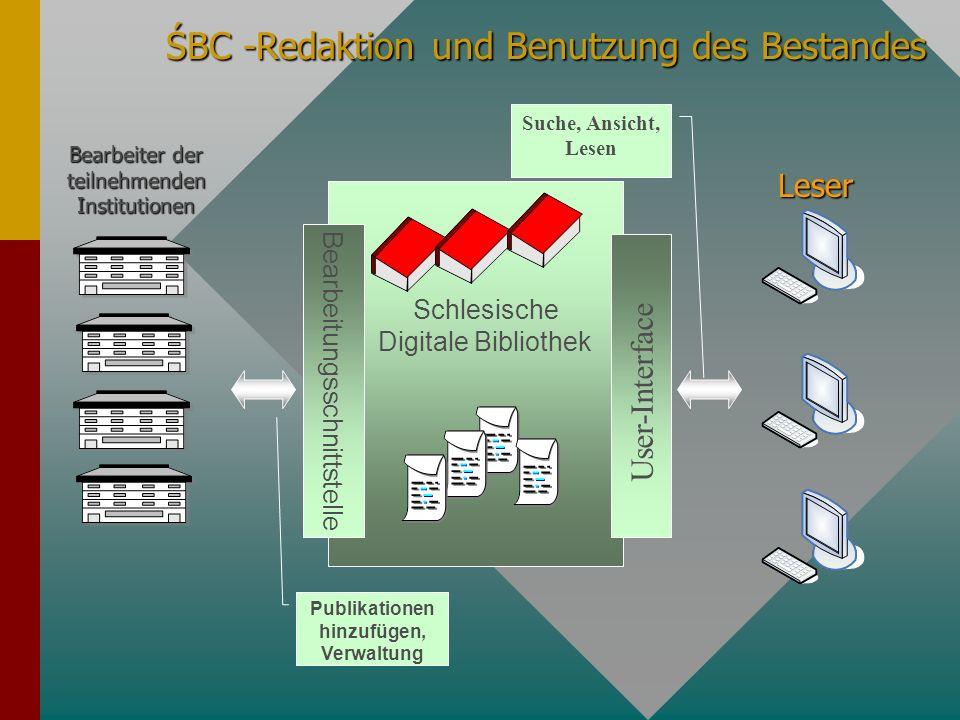 ŚBC -Redaktion und Benutzung des Bestandes