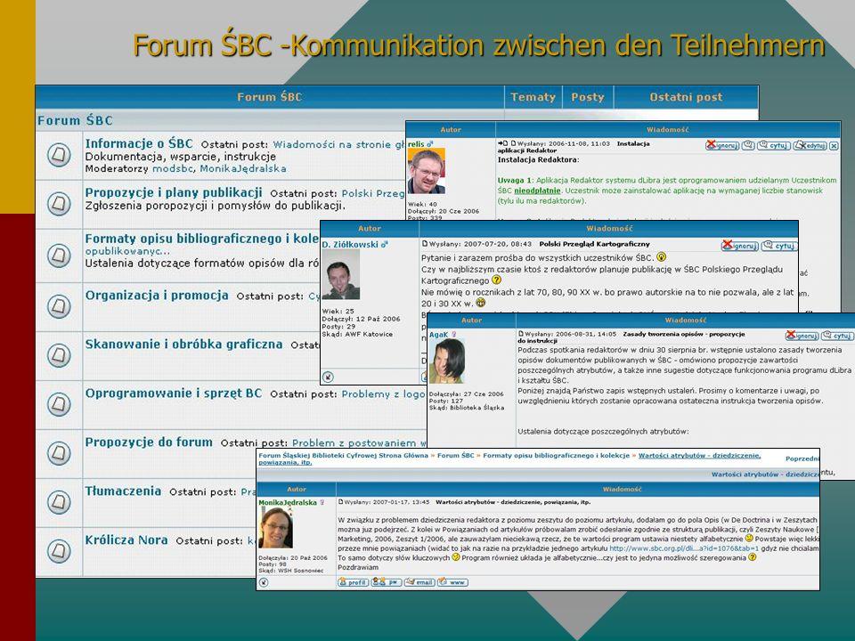 Forum ŚBC -Kommunikation zwischen den Teilnehmern