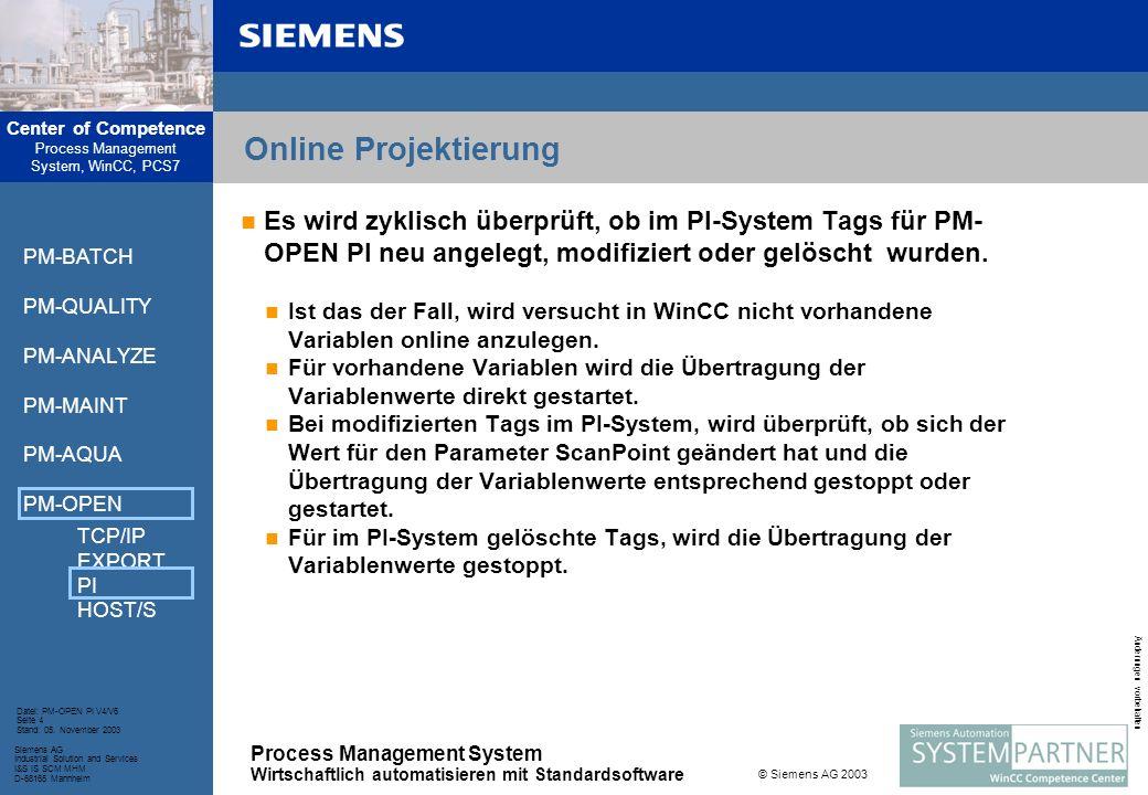 Online Projektierung Es wird zyklisch überprüft, ob im PI-System Tags für PM-OPEN PI neu angelegt, modifiziert oder gelöscht wurden.