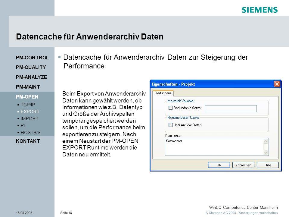 Datencache für Anwenderarchiv Daten