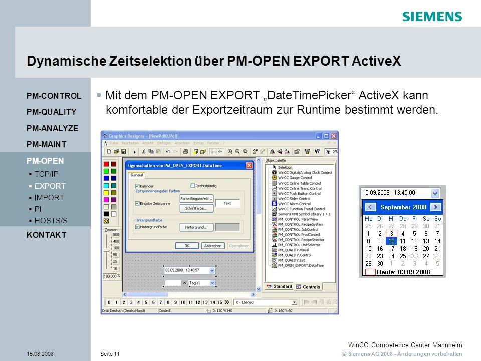 Dynamische Zeitselektion über PM-OPEN EXPORT ActiveX
