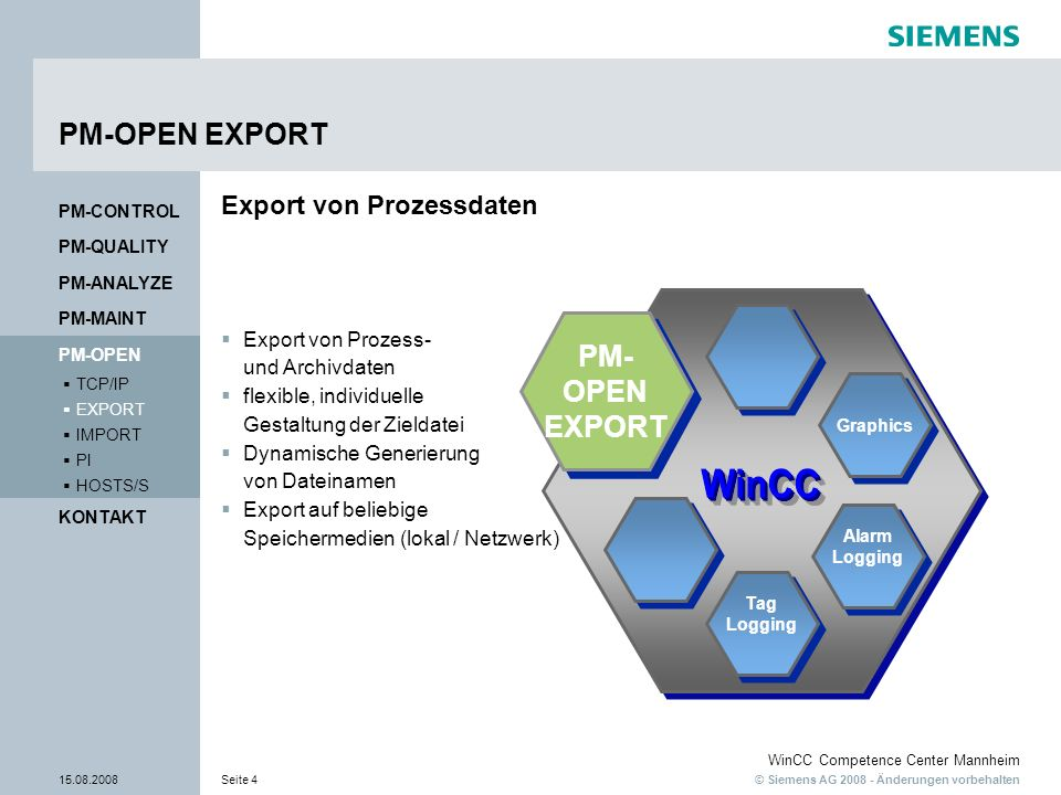 PM-OPEN EXPORT PM- OPEN EXPORT Export von Prozessdaten