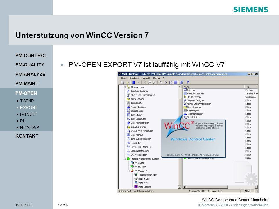 Unterstützung von WinCC Version 7