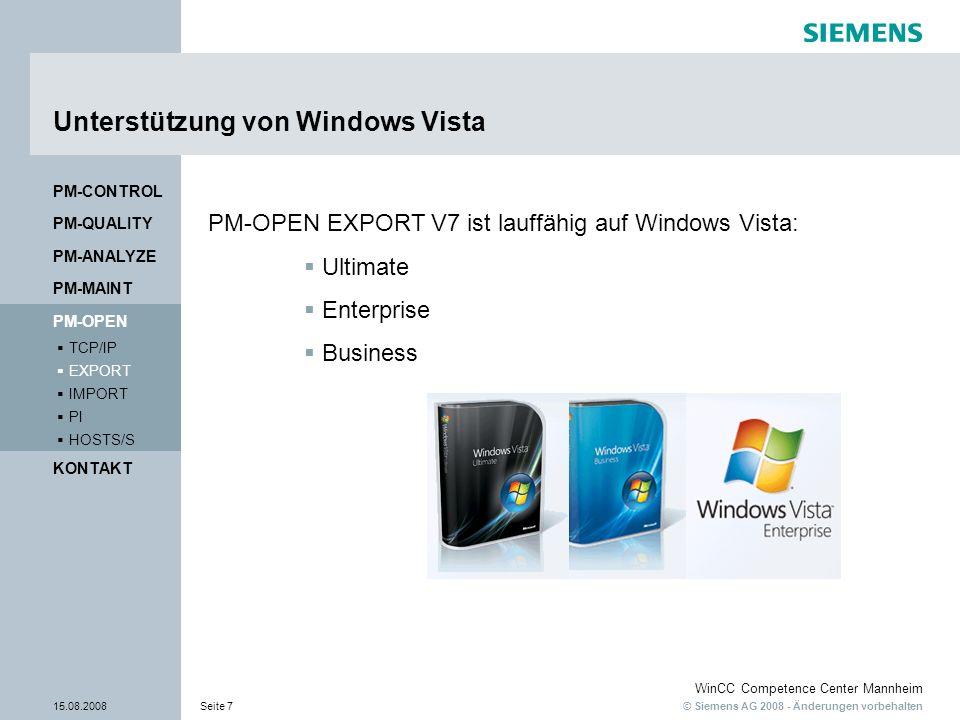 Unterstützung von Windows Vista