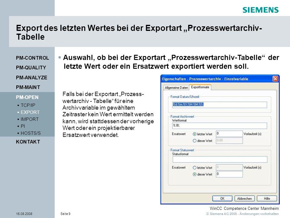 """Export des letzten Wertes bei der Exportart """"Prozesswertarchiv-Tabelle"""