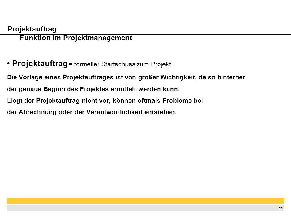Projektauftrag Funktion im Projektmanagement