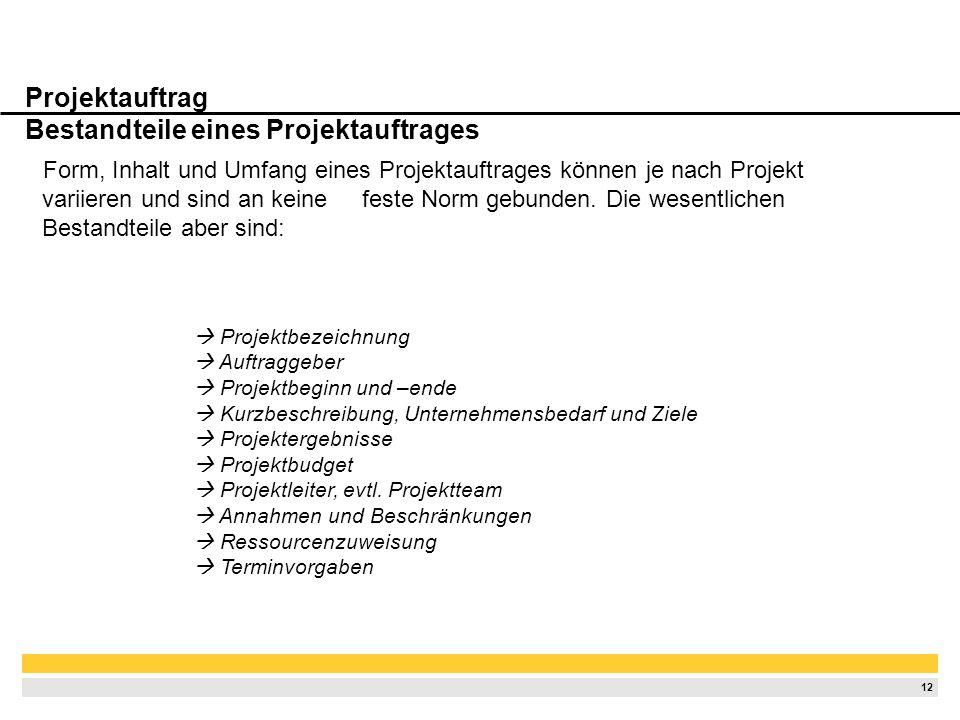Projektauftrag Bestandteile eines Projektauftrages