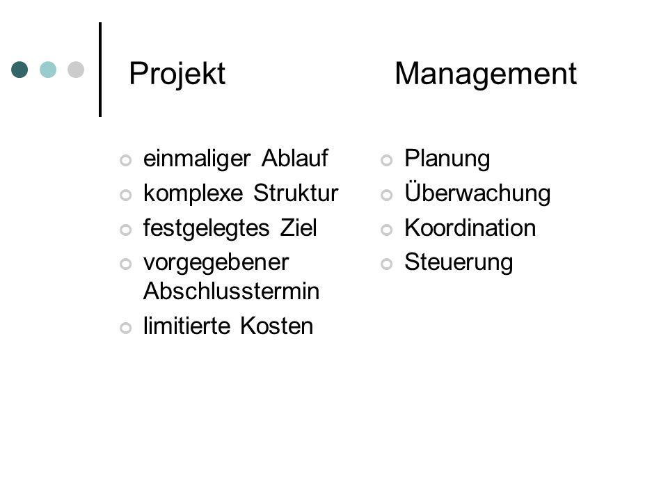 Projekt Management einmaliger Ablauf komplexe Struktur