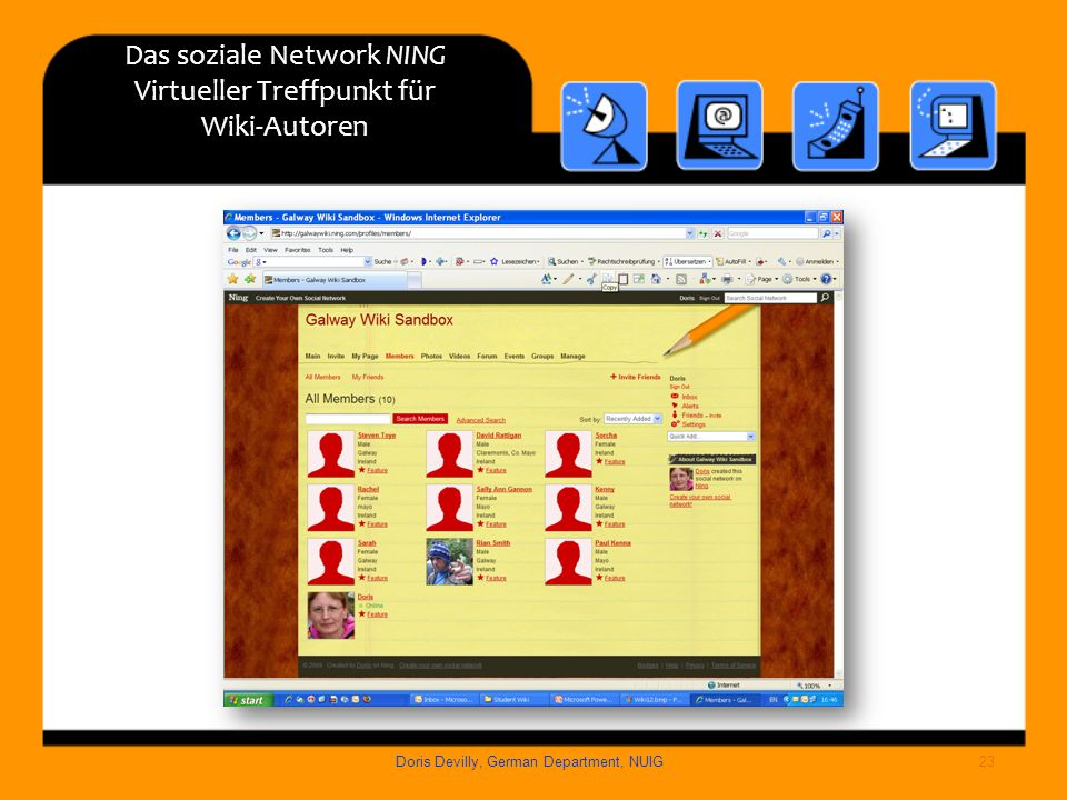 Das soziale Network NING Virtueller Treffpunkt für Wiki-Autoren