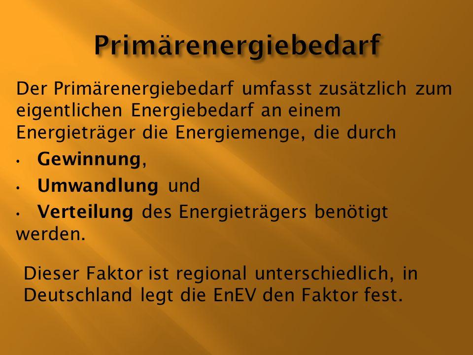 PrimärenergiebedarfDer Primärenergiebedarf umfasst zusätzlich zum eigentlichen Energiebedarf an einem Energieträger die Energiemenge, die durch.