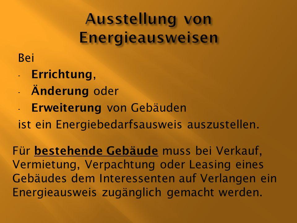 Ausstellung von Energieausweisen