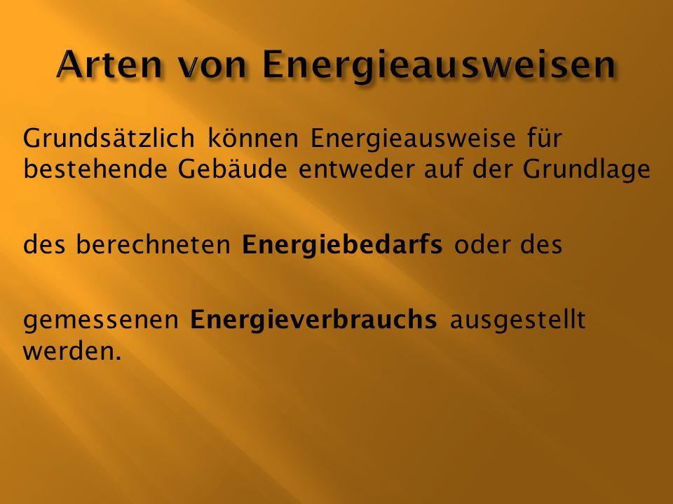 Arten von Energieausweisen