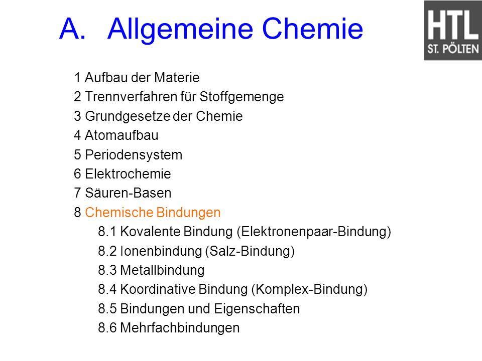 A. Allgemeine Chemie 1 Aufbau der Materie
