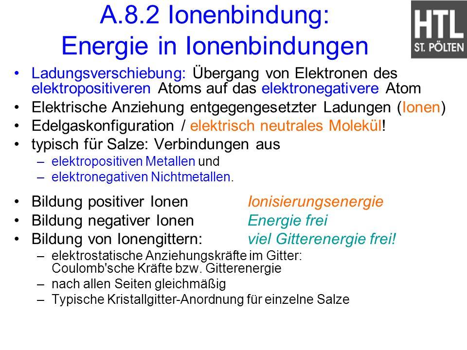 A.8.2 Ionenbindung: Energie in Ionenbindungen