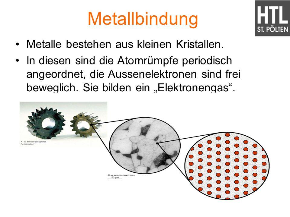 Metallbindung Metalle bestehen aus kleinen Kristallen.