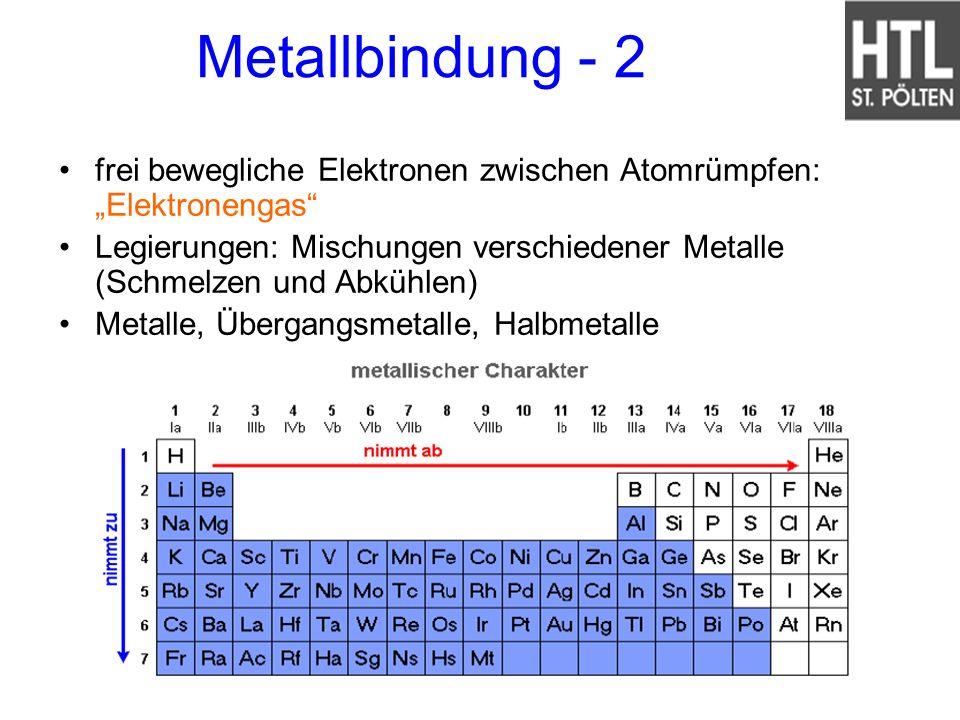 """Metallbindung - 2 frei bewegliche Elektronen zwischen Atomrümpfen: """"Elektronengas"""