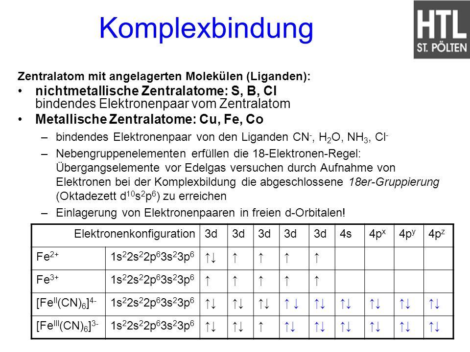Komplexbindung Zentralatom mit angelagerten Molekülen (Liganden): nichtmetallische Zentralatome: S, B, Cl bindendes Elektronenpaar vom Zentralatom.