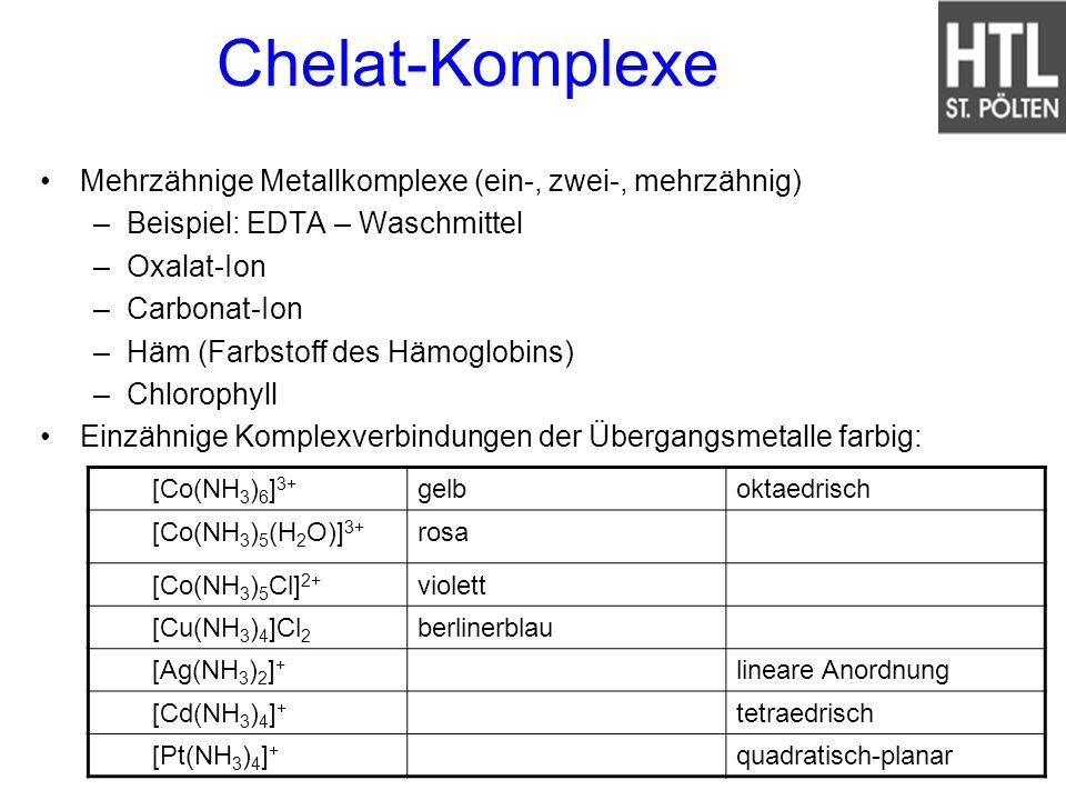 Chelat-Komplexe Mehrzähnige Metallkomplexe (ein-, zwei-, mehrzähnig)