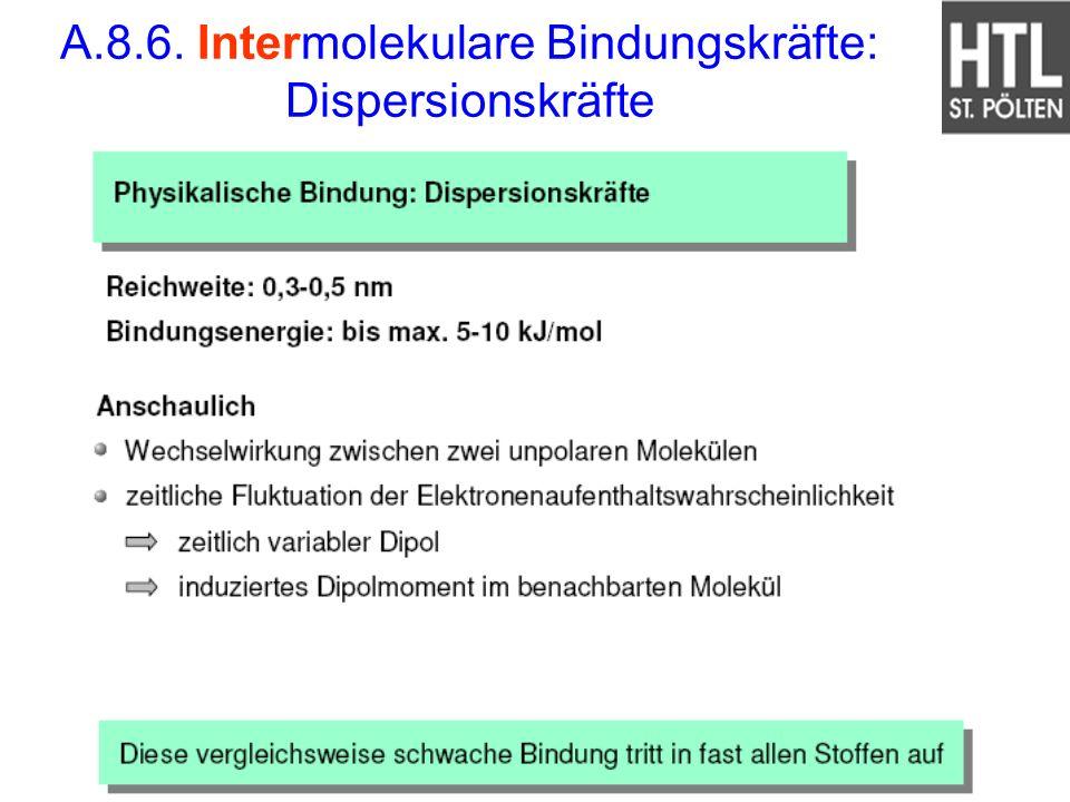A.8.6. Intermolekulare Bindungskräfte: Dispersionskräfte