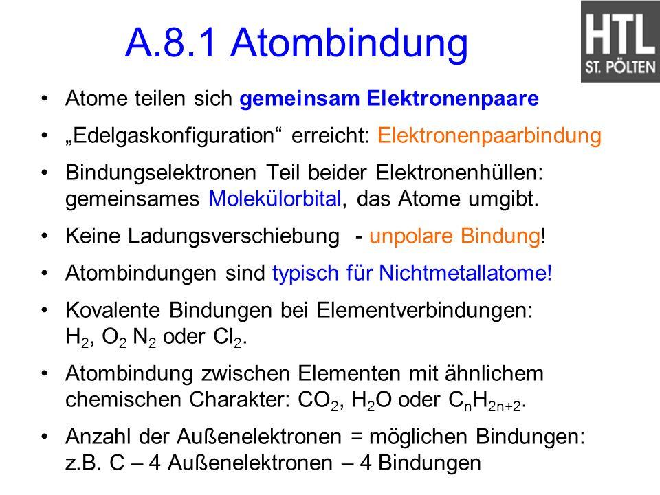 A.8.1 Atombindung Atome teilen sich gemeinsam Elektronenpaare