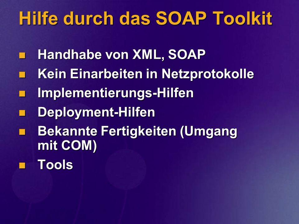 Hilfe durch das SOAP Toolkit