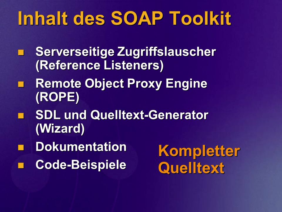 Inhalt des SOAP Toolkit