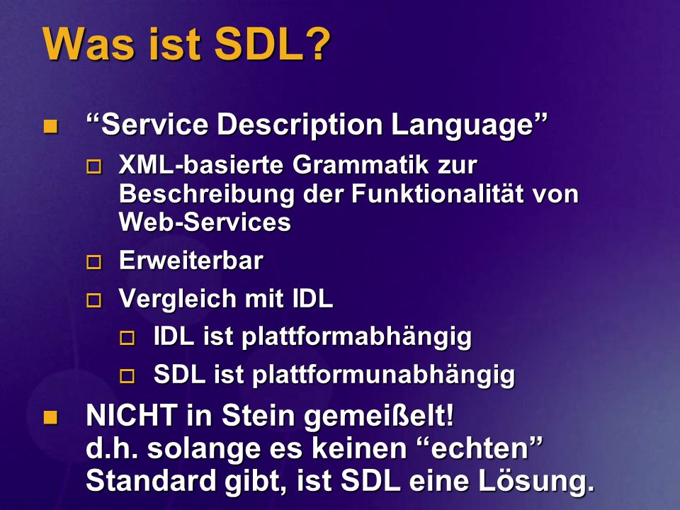 Was ist SDL Service Description Language