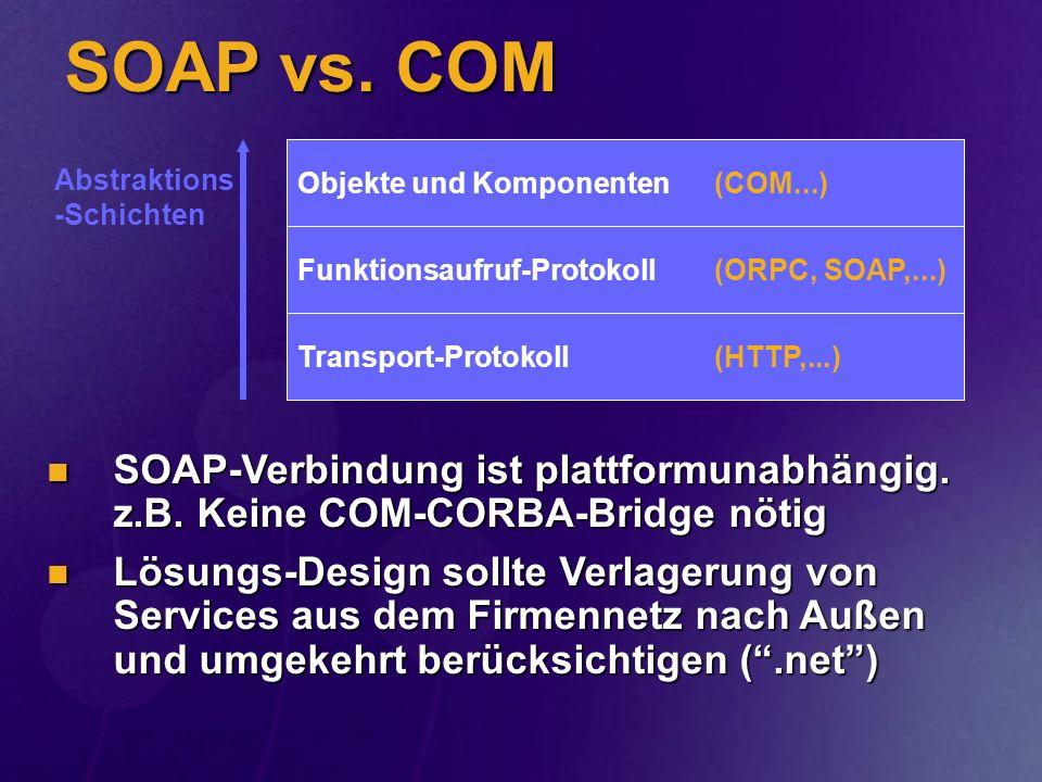 SOAP vs. COM Transport-Protokoll (HTTP,...) Funktionsaufruf-Protokoll (ORPC, SOAP,...) Objekte und Komponenten (COM...)