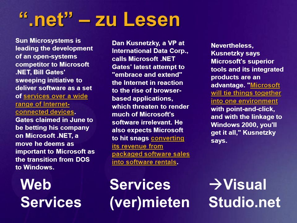 .net – zu Lesen Web Services Services (ver)mieten Visual Studio.net