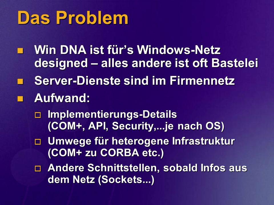 Das Problem Win DNA ist für's Windows-Netz designed – alles andere ist oft Bastelei. Server-Dienste sind im Firmennetz.