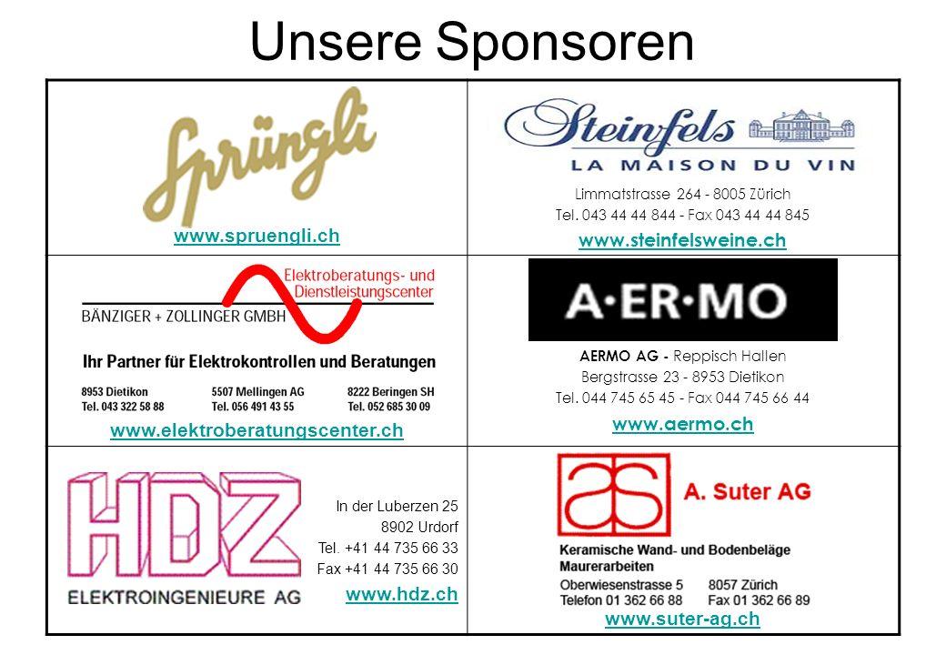 Unsere Sponsoren www.steinfelsweine.ch www.spruengli.ch www.aermo.ch
