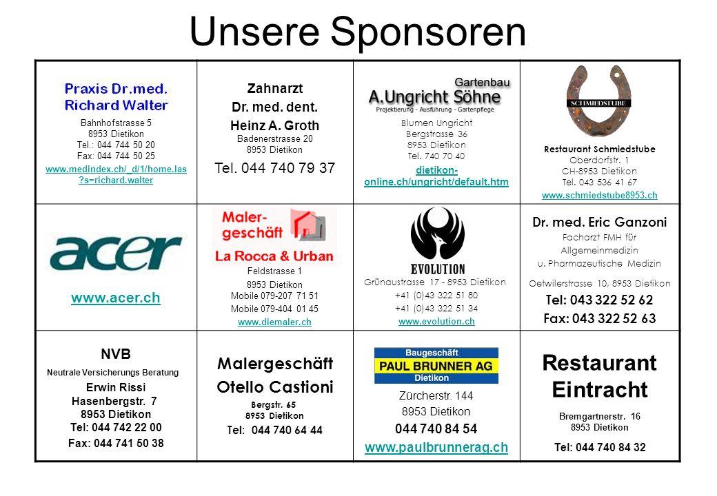 Unsere Sponsoren Restaurant Eintracht Malergeschäft Otello Castioni