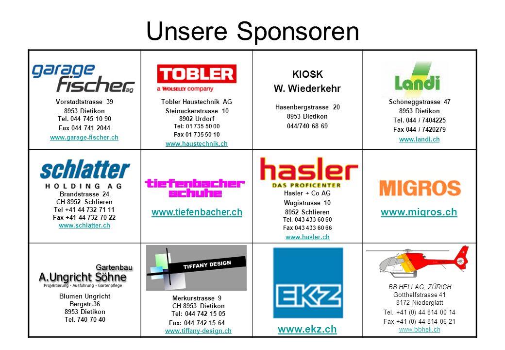 Unsere Sponsoren www.migros.ch www.ekz.ch KIOSK W. Wiederkehr