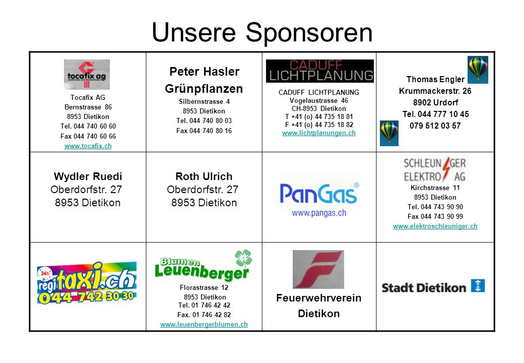 Unsere Sponsoren Peter Hasler Grünpflanzen