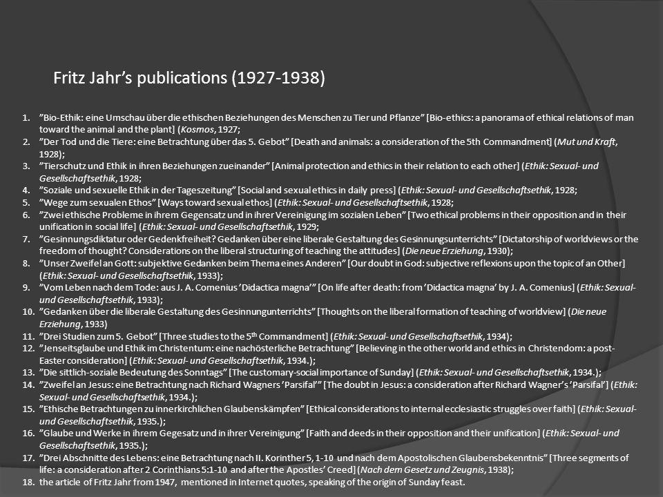 Fritz Jahr's publications (1927-1938)