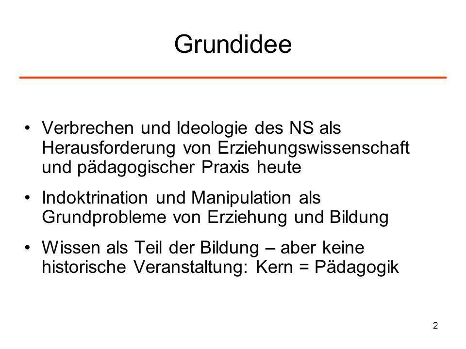 Grundidee Verbrechen und Ideologie des NS als Herausforderung von Erziehungswissenschaft und pädagogischer Praxis heute.