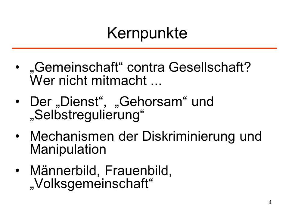 """Kernpunkte """"Gemeinschaft contra Gesellschaft Wer nicht mitmacht ..."""
