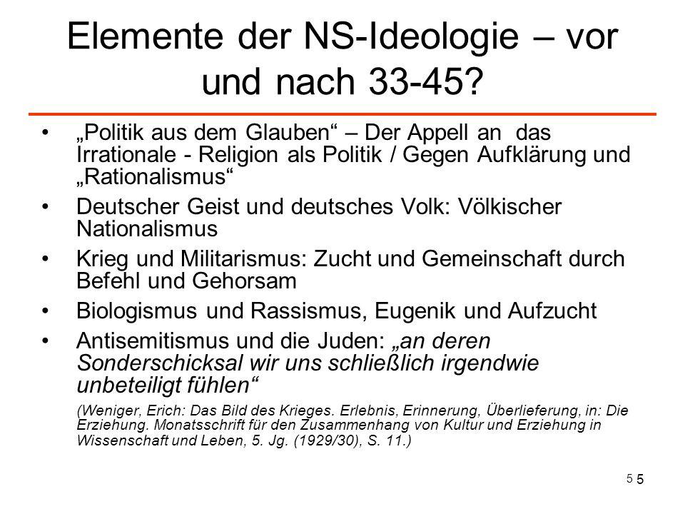 Elemente der NS-Ideologie – vor und nach 33-45