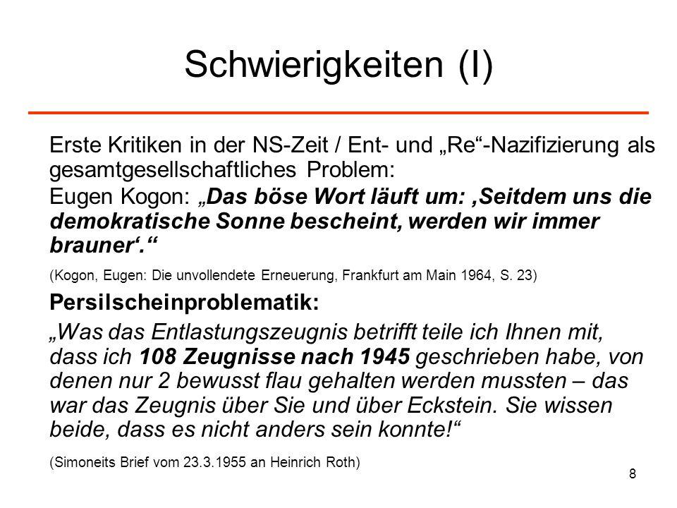 """Schwierigkeiten (I) Erste Kritiken in der NS-Zeit / Ent- und """"Re -Nazifizierung als gesamtgesellschaftliches Problem:"""