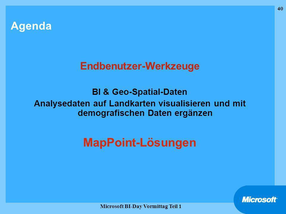 MapPoint-Lösungen Agenda Endbenutzer-Werkzeuge BI & Geo-Spatial-Daten