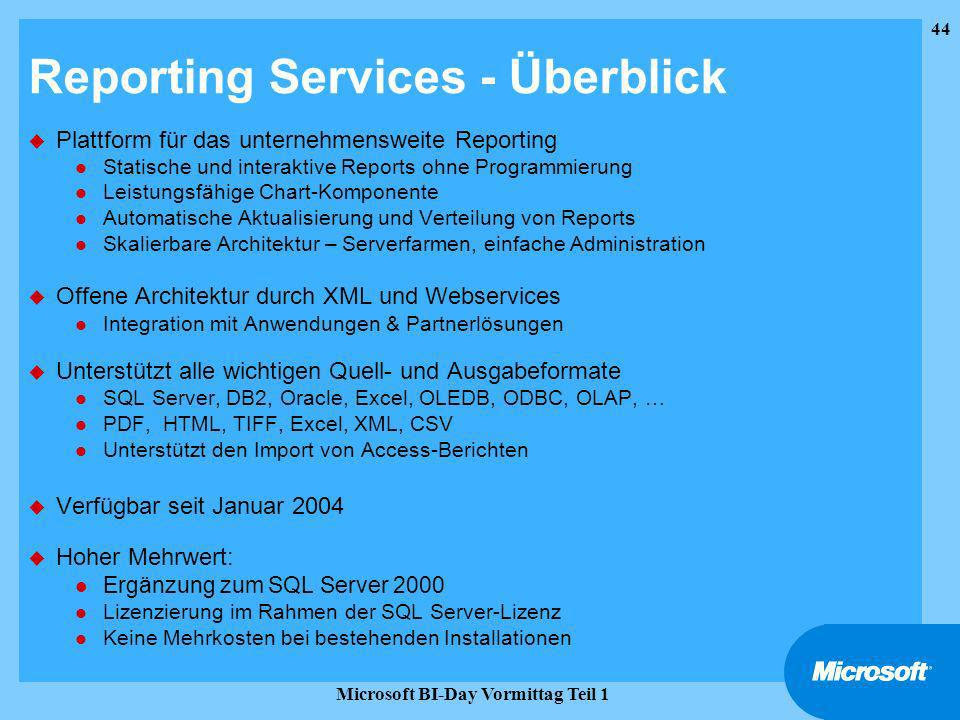 Reporting Services - Überblick