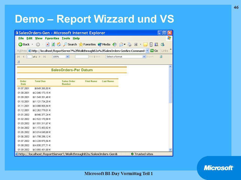 Demo – Report Wizzard und VS