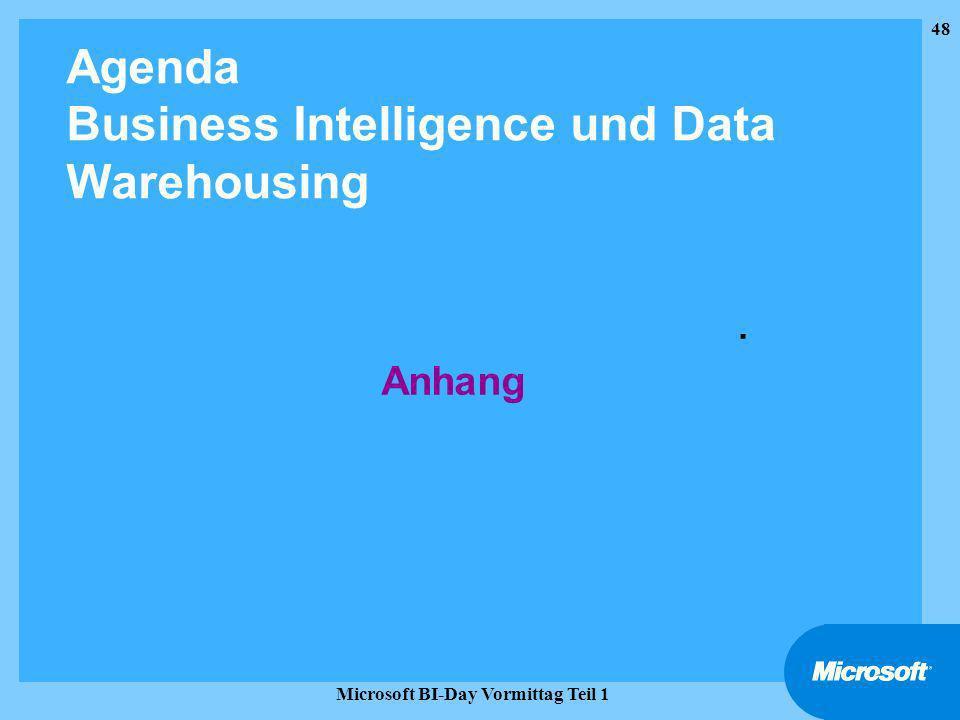 Agenda Business Intelligence und Data Warehousing