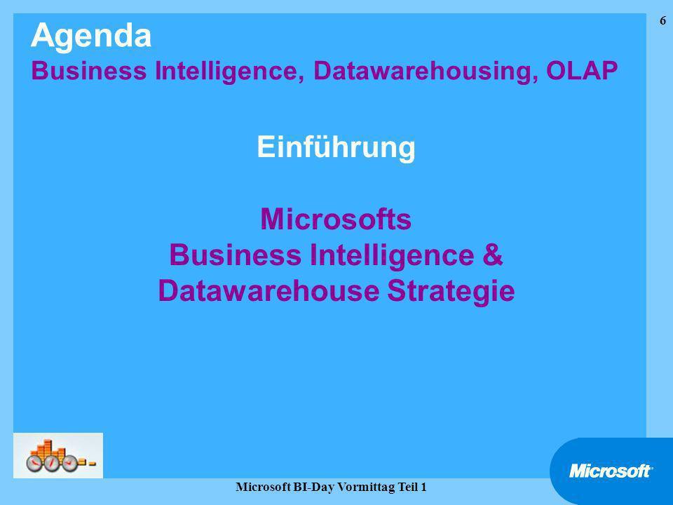 Einführung Microsofts Business Intelligence & Datawarehouse Strategie