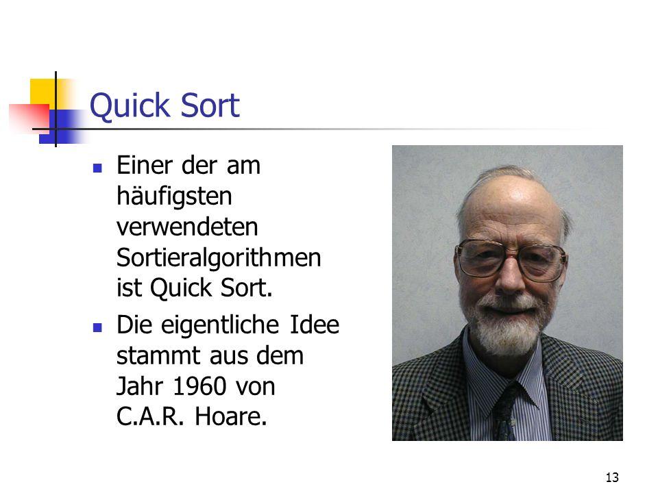 Quick Sort Einer der am häufigsten verwendeten Sortieralgorithmen ist Quick Sort.