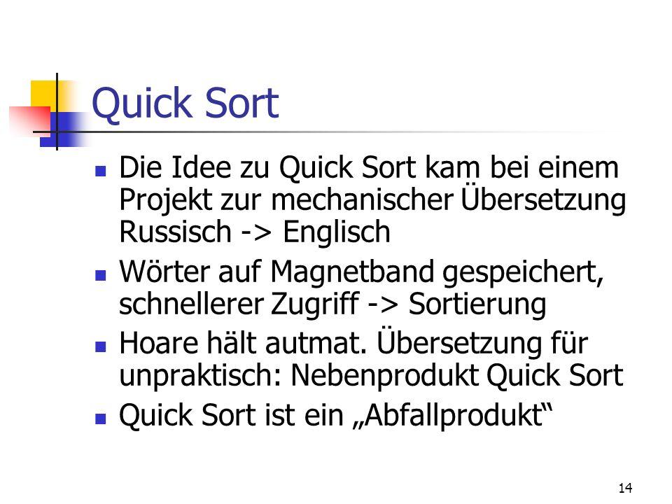 Quick SortDie Idee zu Quick Sort kam bei einem Projekt zur mechanischer Übersetzung Russisch -> Englisch.