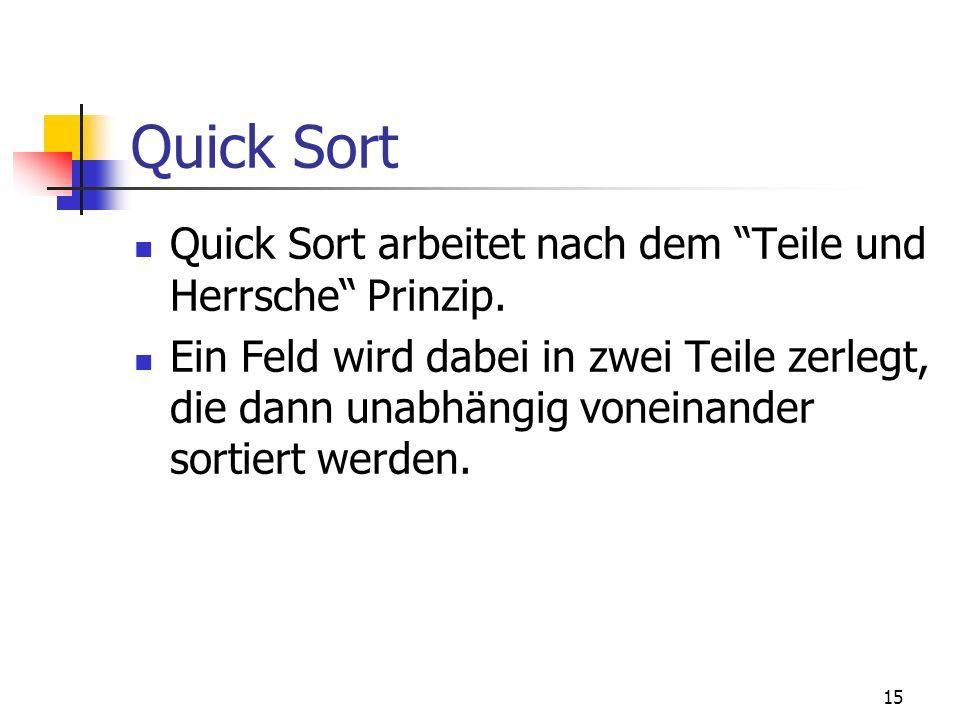 Quick Sort Quick Sort arbeitet nach dem Teile und Herrsche Prinzip.